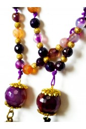 NEW**** Long Beaded Tassel Necklace in Purple , Yellow and Salmon Agate Gemstones