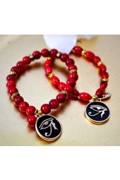 NEW*****Red Sea Coral Stone Stretch Bracelet with Eye of Horus Charm
