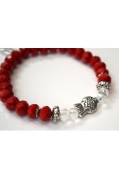 NEW****Red Crystal and Silver Fish Charm Bracelet