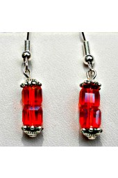 NEW****Blue and Red Crystal Silver Earrings
