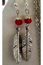 NEW****Silver Feather and Crystal Earrings