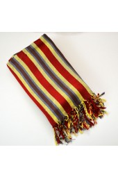 NEW****Egyptian Cotton Striped Fringe Scarf in Yellow, Rust & Grey/Blue