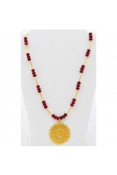 SALE **** 50% of original price of $45.00. Red Crystal Necklace with Gold Sunburst Charm
