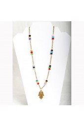 SALE**** 30% off original price of $36 - Small Multicolored Crystals  with Gold Fatima Hand Necklace (Bracelet sold separately)