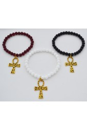 SALE ITEM Org Price $22.00 - 50% off  -Small Alabaster Stones with Gold colored Ankh stretch Bracelet