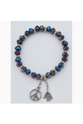 SALE **** 50% of original price of $26.00. Purple Peace Haze Crystal Charm Bracelet