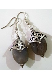 NEW****Silver Crown Earrings with Grey Agate Gemstone