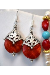 NEW****Silver Crown Earrings with Rust Color Gemstone