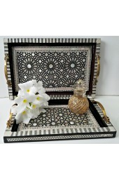 Egyptian handcrafted Rectangular Black & Light Brown Wooden Stacking Serving Trays with Mother of Pearl