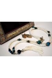 NEW**** Long Silver tone Beaded Tassel Necklace with white and Royal Blue Agate Gemstones