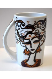 Ceramic Hand Painted Coffee Mugs - Women Faces