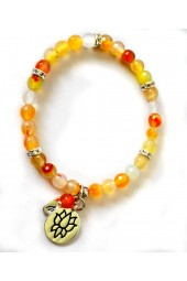 NEW*****Silver Yellow/gold Agates Stretch Bracelet with Lotus Flower Charm